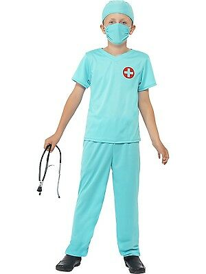 New Boys Child Surgeon Doctors Scrubs Smiffys Fancy Dress Costume - 3 Sizes