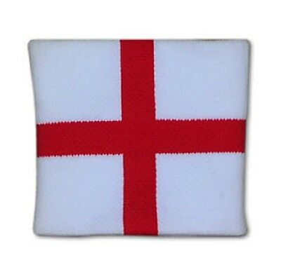 New England St George Cross White And Red Wrist Sweat Band Sport Tennis Football