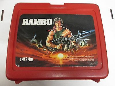 Vintage 1985 Rambo Thermos Plastic Red Lunchbox, Sylvester Stallone