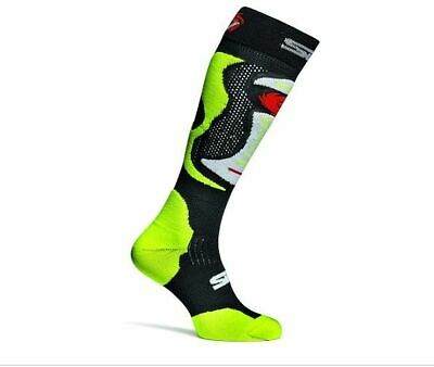 Sidi Faenza Motorcycle Motorbike Long Race Boot Socks - Black Yellow Fluo