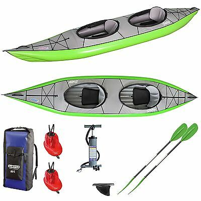 Gumotex Swing 2 Inflatable Kayak + Fin, Rucksack, Skirt, Pump, 2 Paddles - Green