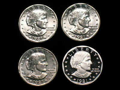 1981 Susan B Anthony Dollar Year Set - Pds & Proof - Sba $ Coins