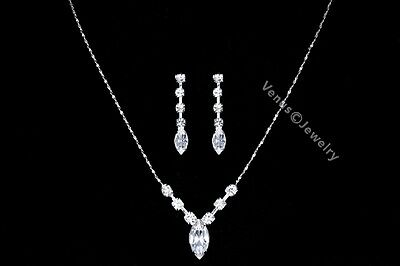 Bridal Wedding Prom Rhinestone Crystal Necklace Earrings set 2226