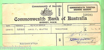 1953  Commonwealth  Bank Tax  Refund Cheque  For Threepence