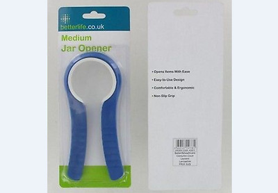 BETTERLIFE JAR LID/BOTTLE OPENER,Easy Rubber Grip,Med,Kitchen/Disability Aid.