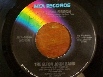 "ELTON JOHN 45 RPM ""Philadelphia Freedom""  ""I Saw Her Standing There"" VG++ cond."