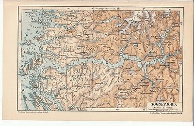 c. 1890 Norway Sognefjord Antique Map