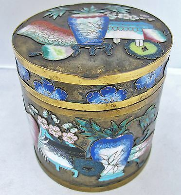 "3.85"" Antique Chinese Champleve Cloisonne Round Cigarette or Trinket Box"