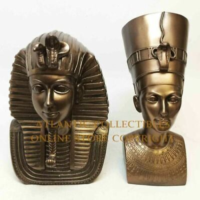 Ruler of Egypt King Tut and Queen Nefertiti Bust Bronze Color Statue Mask Set