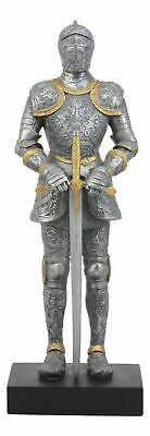 """Medieval Suit of Armor Knight with Broad Sword Standing Large 13.5""""H Figurine"""