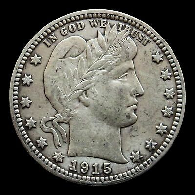 1915 D Silver Barber Quarter Coin -Extremely Fine Condition -Denver Mint