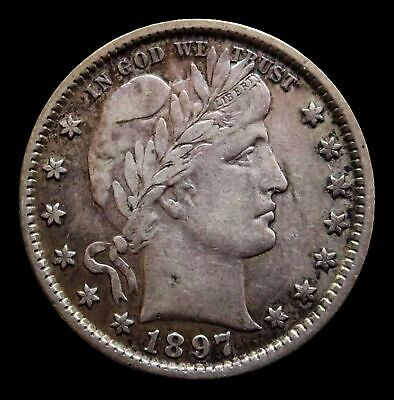 1897 Silver Barber Quarter Coin -Extremely Fine Condition