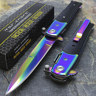 "8.5"" TAC FORCE SPRING ASSISTED TACTICAL STILETTO POCKET KNIFE Blade Rainbow Open"