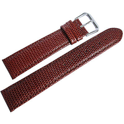 18mm deBeer Mens Havana Brown Lizard-Grain Leather Watch Band Strap