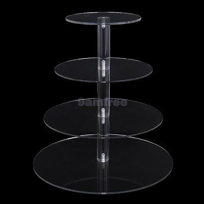 3/4/5 Tier Clear Acrylic Round Cupcake Wedding Party Birthday Cake Stand Display