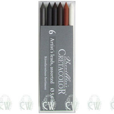 Pack of 6 ASSORTED Cretacolor Artists 5.6mm Clutch Pencil Leads. Sketching