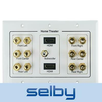 2 HDMI + 6.1 Speaker Cable Wall Plate for 6 Speakers & Subwoofer & 2 HD Devices