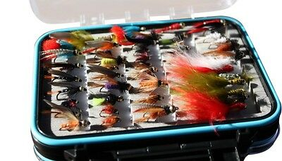 Flextec Assorted Fly Fishing Gold Head Flies in box Fly Selection x 50