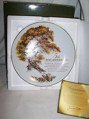 "Vtg AVON ""The Great Oak"" 5th Anniversary 22k Gold Trim Collectible PLATE (#1591)"