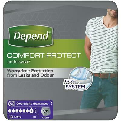 Depend Incontinence 10 Pants Men Male Super S/M (Pack 1 & 3 Option Available)