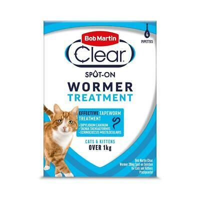 Bob Martin Clear Spot on Wormer for Cat & Kitten over 1kg 4 Pack Worms Treatment