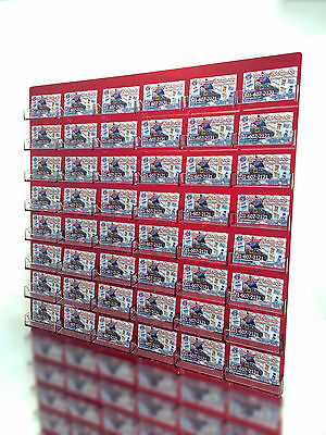 48 Pocket Transparent Red w Clear Business Card Holder Acrylic Wall Mount