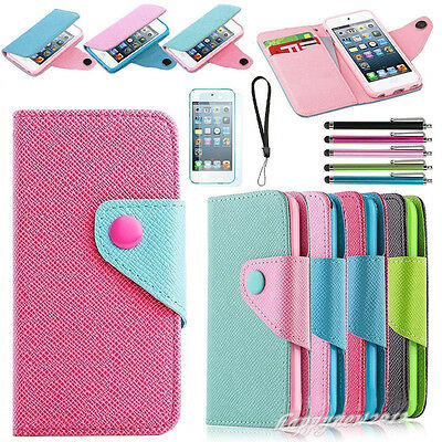 For iPod Touch 4 4TH Gen New PU Leather Credit Wallet Pouch Hard Case Cover