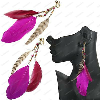 """5.5""""long CLIP ON feathers EARRINGS hot pink MAGENTA FEATHER wild bird BOHO gold"""