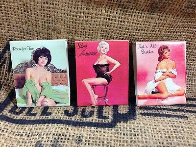 3 Pc Vintage Nude Risque 1970's PinUp Matchbooks RCA Television Awesome
