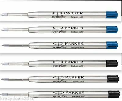 Parker Jotter Classic Ball Point Pen Refills Medium Tip 3 Blue Ink + 3 Black Ink
