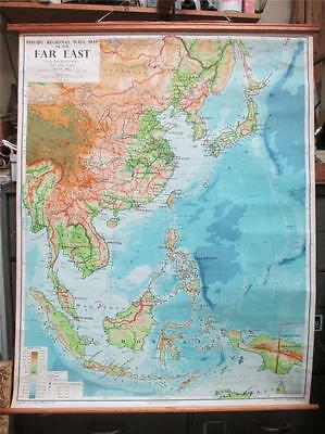 School Map, 1960's, cotton backed, Phillips regional wall map of the Far East