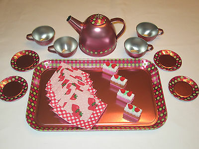 "Tin Teaset- Pink And Green Polka Dot -4 Place Setting - Great Size For 18"" Dolls"