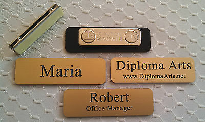 """Custom Name Tags 2.5""""x0.75"""" Gold -Black letters Corners Rounded w/ magnet"""