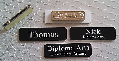 "Custom Name Tags 2.5""x0.75"" Black -White letters Corners Rounded w/ magnet"