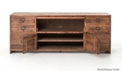 "69"" Media Console Bleached Pine Reclaimed Wood 6 Drawers Cabinet FH JC"