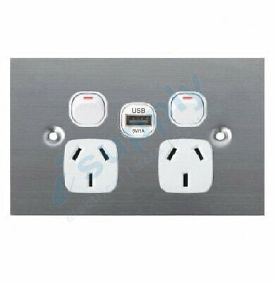 DEXTON Flat stainless Steel Double power point with USB