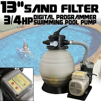 "Digital Programming 13"" Sand Filter 2640GPH Swimming Pool Pump Timer System"