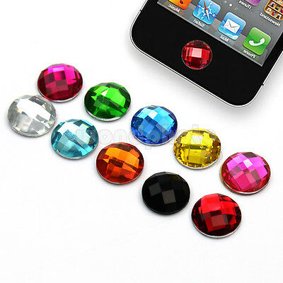 Fashion Cute 10 Colors Diamond Bling Home Button Sticker For Apple iPhone iPod