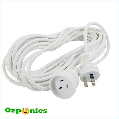 2x 5M FLAT EARTH 240V EXTENSION LEAD HYDROPONICS MAINS POWER CORD CABLE