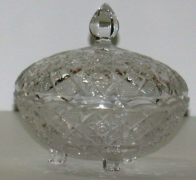 """Pressed Glass Footed Candy Jar w/ Lid ~ Clear ~ 6"""" Dia x 6"""" H"""