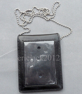 High Quality Black Leather Neck Chain Badge Holder Case Pouch-D346