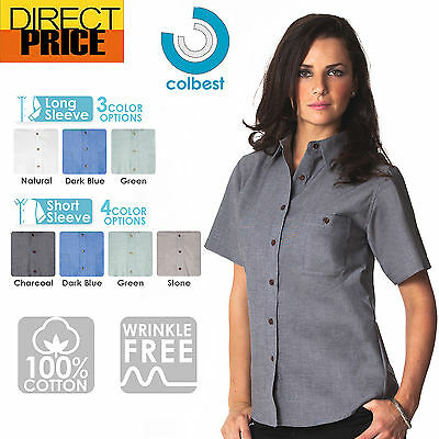 Ladies Womens Chambray Blouse Shirts Business Long Short Sleeve Cotton Office