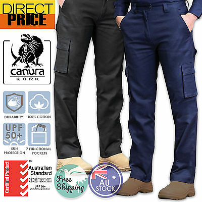 Mens Cargo Pants Work Trousers Cotton Drill 8 Pockets Black Navy Heavy Duty UPF+