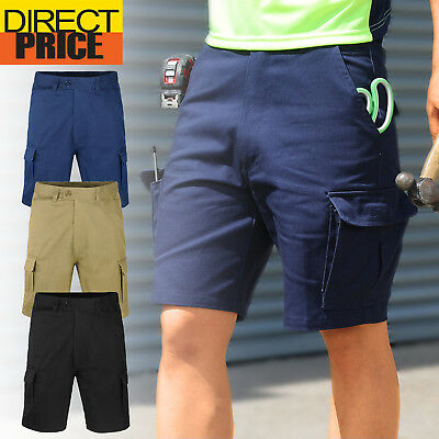 Mens Drill Cargo Work Shorts Pants Heavy Duty Cotton Tradie Pockets Plus Sizes
