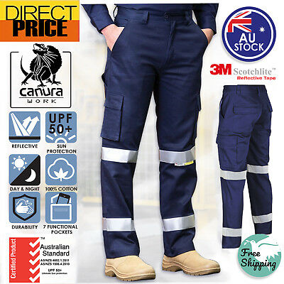 Cotton Drill Cargo Work Pants Hi Vis Pant 3M Tape Tradie AU Standard UPF50+