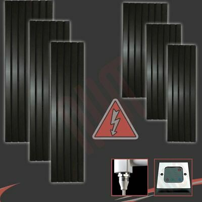 """Corwen"" Black Electric Pre-filled Vertical Panel Radiators + Heating Elements"