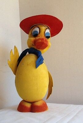 """Antique German Paper Mache Easter Duck Nodder Bobble Candy Container 12""""tall"""