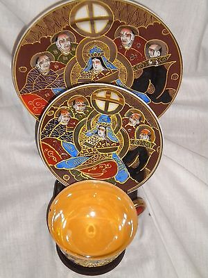 6 PC Set Satsuma Immortals Tea Cup saucer Luncheon Plate Hand Painted Japan