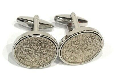 1954 Sixpence Coin Cufflinks Mens 64th Birthday Gift Present Anniversary
