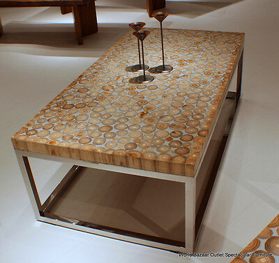 """54"""" L Cocktail Table Wood Cross Sections Gray Resin Stainless Steel Spectacular!"""